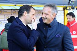 """Foto LaPresse/Filippo Rubin<br /> 24/02/2019 Bologna (Italia)<br /> Sport Calcio<br /> Bologna - Juventus - Campionato di calcio Serie A 2018/2019 - Stadio """"Renato Dall'Ara""""<br /> Nella foto: MASSIMILIANO ALLEGRI (ALLENATORE JUVENTUS) E SINISA MIHAJLOVIC (ALLENATORE BOLOGNA F.C.)<br /> <br /> Photo LaPresse/Filippo Rubin<br /> February 24, 2019 Bologna (Italy)<br /> Sport Soccer<br /> Bologna vs Juventus - Italian Football Championship League A 2018/2019 - """"Renato Dall'Ara"""" Stadium <br /> In the pic: MASSIMILIANO ALLEGRI (JUVENTUS TRAINER)AND SINISA MIHAJLOVIC (BOLOGNA'S TRAINER)"""