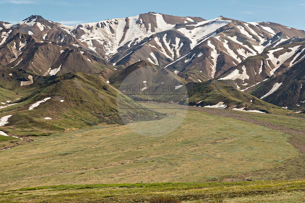 A glacier debris field at Savage River in Denali National Park Alaska. Denali National Park and Preserve encompasses 6 million acres of Alaska's interior wilderness.
