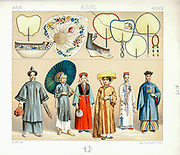 Ancient Asian fashion and accessories from Geschichte des kostüms in chronologischer entwicklung (History of the costume in chronological development) by Racinet, A. (Auguste), 1825-1893. and Rosenberg, Adolf, 1850-1906, Volume 1 printed in Berlin in 1888