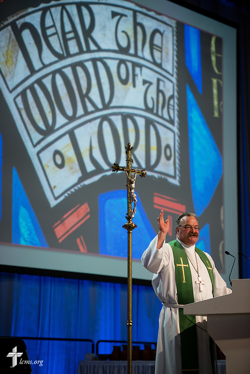 The Rev. Dr. Matthew C. Harrison, president of the LCMS, preaches during the Opening Divine Service of the 66th Regular Convention of The Lutheran Church–Missouri Synod on Saturday, July 9, 2016, at the Wisconsin Center in Milwaukee.  LCMS/Michael Schuermann