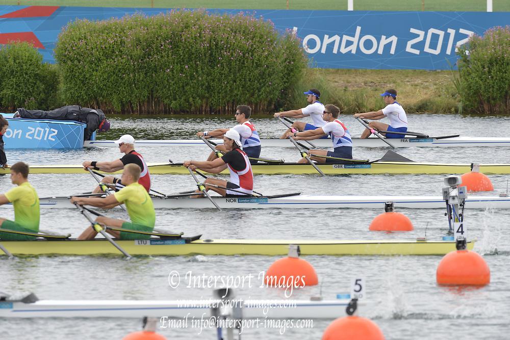 Eton Dorney, Windsor, Great Britain,..2012 London Olympic Regatta, Dorney Lake. Eton Rowing Centre, Berkshire[ Rowing]...Description;  Heat, Men's double Sculls: .Luka SPIK (b) , Iztok COP (s).LTU.M2X Rolandas MASCINSKAS (b) , Saulius .GBR M2X Bill LUCAS (b) , Sam TOWNSEND (s).NOR.M2X Nils Jakob HOFF (b) , Kjetil BORCH (s).FRA.M2X Julien BAHAIN (b) , Cedric BERREST (s).CAN M2X Michael BRAITHWAITE (b) , Kevin KOWALYK (s)..Dorney Lake. 12:30:02  Tuesday  31/07/2012.  [Mandatory Credit: Peter Spurrier/Intersport Images].Dorney Lake, Eton, Great Britain...Venue, Rowing, 2012 London Olympic Regatta...