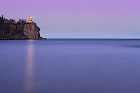 Minnesota's split rock lighthouse perched high on a cliff over Lake Superior. The lighthouse is lit only once per year or on special occasions.
