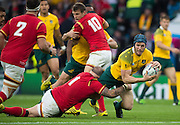 Twickenham, Great Britain,  David POCOCK, stopped in his move by Paul JAMES of Wales during the Pool A game, Australia vs Wales.  2015 Rugby World Cup,  Venue, Twickenham Stadium, Surrey, ENGLAND.  Saturday  10/10/2015.   [Mandatory Credit; Peter Spurrier/Intersport-images]