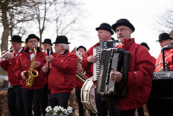 The local band greet the riders at Drentse 8 2017. A 143 km road race on March 12th 2017, starting and finishing in Dwingeloo, Netherlands. (Photo by Sean Robinson/Velofocus)