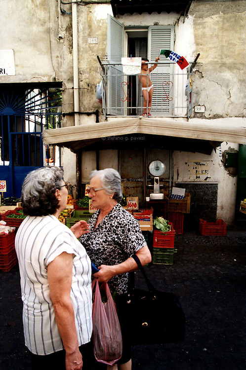 Naples, local market in Serena Street at Barra district