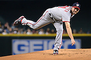 PHOENIX, AZ - AUGUST 03:  Max Scherzer #31 of the Washington Nationals delivers a pitch during the first inning of the game against the Arizona Diamondbacks at Chase Field on August 3, 2016 in Phoenix, Arizona. The Nationals beat the Diamondbacks 8 to 3.  (Photo by Jennifer Stewart/Getty Images)