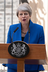 © Licensed to London News Pictures. 24/07/2019. London, UK. British Prime Minister Theresa May MP makes her final speech outside No.10 Downing Street before resigning. Boris Johnson MP was elected as the new Conservative party leader and Prime Minister. Photo credit: Ray Tang/LNP