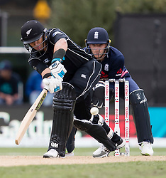 New Zealand's Ross Taylor, left, plays a shot as England's Jos Buttler keeps wicket in the fourth one day cricket international at the University of Otago Oval, Dunedin, New Zealand, Wednesday, March 7, 2018. Credit:SNPA / Adam Binns ** NO ARCHIVING**
