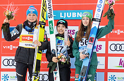 Second placed Maren Lundby of Norway, winner Sara Takanashi of Japan and third placed Juliane Seyfarth of Germany celebrate at trophy ceremony during Day 3 of World Cup Ski Jumping Ladies Ljubno 2019, on February 10, 2019 in Ljubno ob Savinji, Slovenia. Photo by Matic Ritonja / Sportida