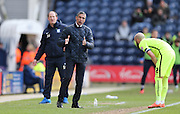 Brighton Manager, Chris Hughton and Preston North End manager Simon Grayson during the Sky Bet Championship match between Preston North End and Brighton and Hove Albion at Deepdale, Preston, England on 5 March 2016.