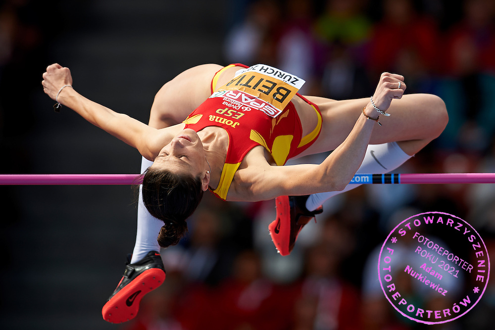 Ruth Beitia from Spain competes in women's high jump final during the Fourth Day of the European Athletics Championships Zurich 2014 at Letzigrund Stadium in Zurich, Switzerland.<br /> <br /> Switzerland, Zurich, August 15, 2014<br /> <br /> Picture also available in RAW (NEF) or TIFF format on special request.<br /> <br /> For editorial use only. Any commercial or promotional use requires permission.<br /> <br /> Photo by &copy; Adam Nurkiewicz / Mediasport