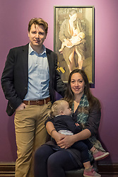 Edinburgh, Scotland, United Kingdom. 14 December, 2017. <br /> <br /> Winning painting of BP Portrait Award 2017, Breech!, and the artist Benjamin Sullivan and wife (and painting's subject) Virginia, at the opening of the exhibition. The BP Portrait Award 2017 opens at the Scottish National Portrait Gallery on 16 December 2017.