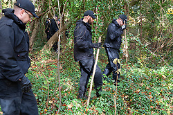© Licensed to London News Pictures. 08/11/2018. New Ash Green, UK.Police searching woodland  around New Ash Green. The search continues for  mum of five Sarah Wellgreen who has been missing for four weeks, the police are out in force with several search teams in the local area.  Photo credit: Grant Falvey/LNP