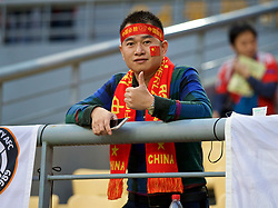 NANNING, CHINA - Thursday, March 22, 2018: A Chinese supporter before the opening match of the 2018 Gree China Cup International Football Championship between China and Wales at the Guangxi Sports Centre. (Pic by David Rawcliffe/Propaganda)