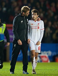 EXETER, ENGLAND - Friday, January 8, 2016: Liverpool's manager Jürgen Klopp with Pedro Chirivella after the 2-2 draw against Exeter City during the FA Cup 3rd Round match at St. James Park. (Pic by David Rawcliffe/Propaganda)