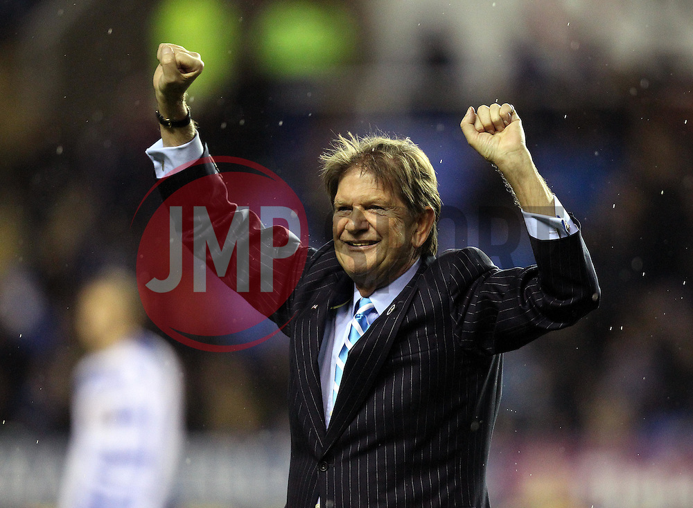 Reading Chairman Sir John Madejski celebrates his 25 year association with the club by leading out the sides onto the pitch - Mandatory byline: Robbie Stephenson/JMP - 03/12/2015 - Football - Madejski Stadium - Reading, England - Reading v Queens Park Rangers - Sky Bet Championship
