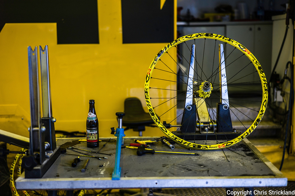 Nevis Range, Fort William, Scotland, UK. 5th June 2016. A mechanics work bench of Mavic complete with beer as wheel building continues into the evening. The worlds leading mountain bikers descend on Fort William for the UCI World Cup on Nevis Range.