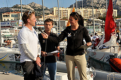Redhanded TV presenters Mark Chisnell and Hannah White talking with Jasper Radich. Photo:Chris Davies/WMRT