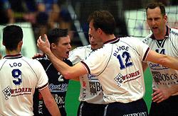 25-04-2001 VOLLEYBAL: GEOVE VREVOK - PIET ZOOMERS D: NIEUWEGEIN<br /> Richard de Kogel, Peter Blange en Martin van der Horst<br /> &copy;2001-WWW.FOTOHOOGENDOORN.NL