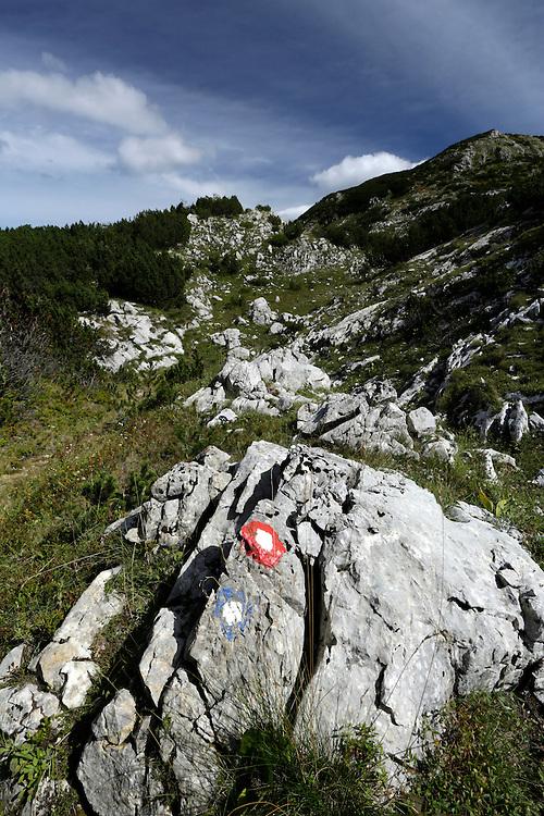 Trail mark on Treskavica mountain, Bosnia and Herzegovina.