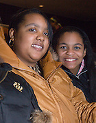 "Columbus area high school students Dayvette Dawkins (left) and Gabrielle Carter wait for the ""Three Doctors"" presentation to begin at Templeton Blackburn Alumni Memorial Auditorium Thursday evening, 1/25/07."