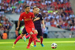 LONDON, ENGLAND - Saturday, August 6, 2016: Liverpool's Kevin Stewart in action against Barcelona during the International Champions Cup match at Wembley Stadium. (Pic by Xiaoxuan Lin/Propaganda)