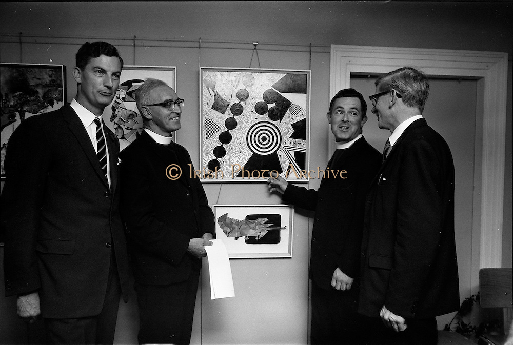 17/09/1968<br /> 09/17/1968<br /> 17 September 1968<br /> Glenstal Abbey School Painting Exhibition opened at the Little Theatre in Brown Thomas, Grafton Street, Dublin. Picture shows (l-r): Mr W. Hedderman, President Glenstal Abbey and Boys Association; Rev Augustine O'Sullivan, Father Abbot, Glenstal Abbey School ; Fr Kevin Healy, Glenstal Abbey School and  Mr P. Doyle, Art Master at Glenstal Abbey School viewing some of the work at the opening of the exhibition of pupils art works.