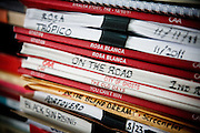 """Berkeley, April 4 2012 - At Barry Gifford's atelier, some of the scripts he wrote, including the one of """"On the road""""."""