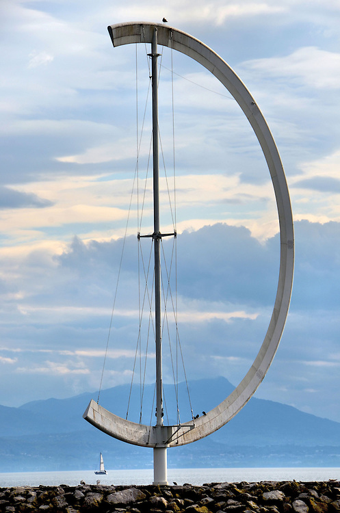 Eole Wind Vane Sculpture at Ouchy Harbor in Ouchy, Switzerland <br />