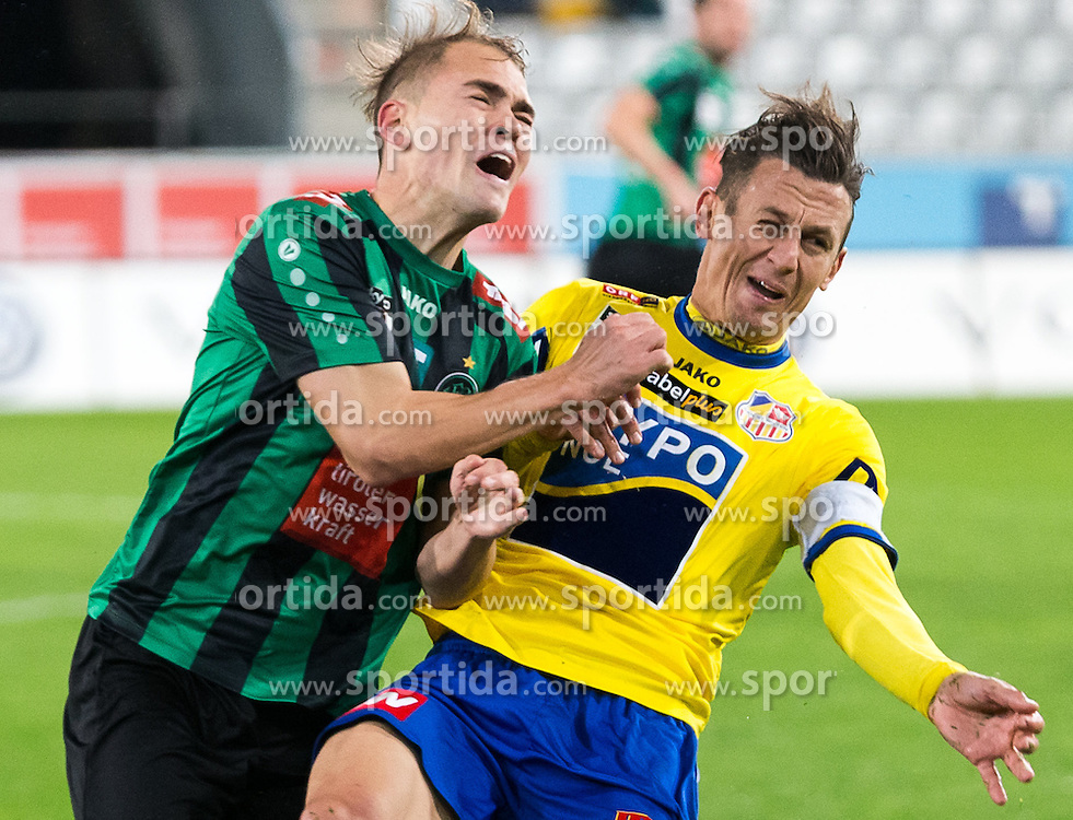 16.10.2015, Tivoli Stadion, Innsbruck, AUT, 2. FBL, FC Wacker Innsbruck vs SKN St. Pölten, 13. Runde, im Bild vl.: Alexander Gruendler (Wacker Innsbruck), Florian Mader (SKN St. Pölten) // during second Austrian Bundesliga 13th round match between FC Wacker Innsbruck and SKN St. Pölten at the Tivoli Stadion in Innsbruck, Austria on 2015/10/16. EXPA Pictures © 2015, PhotoCredit: EXPA/ Jakob Gruber