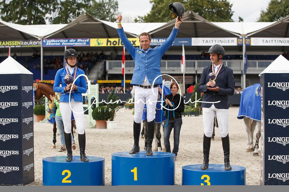 Podium 6 years old horses, Ahlmann Christian (GER), Wegener Carola (GER), Lemmen Patrick (NED)<br /> Final 6 years<br /> FEI World Breeding Jumping Championships for Young Horses - Lanaken 2014<br /> © Dirk Caremans