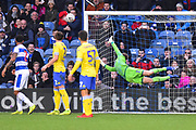 Bailey Peacock-Farrell (1) of Leeds United is beaten by a free kick which hits the post and stays out during the The FA Cup 3rd round match between Queens Park Rangers and Leeds United at the Loftus Road Stadium, London, England on 6 January 2019.