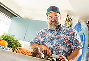 Myles Kingsley Lamberth preparing food at his home, in Strandhill, Co. Sligo<br /> Photo: James Connolly<br /> 02JUL18