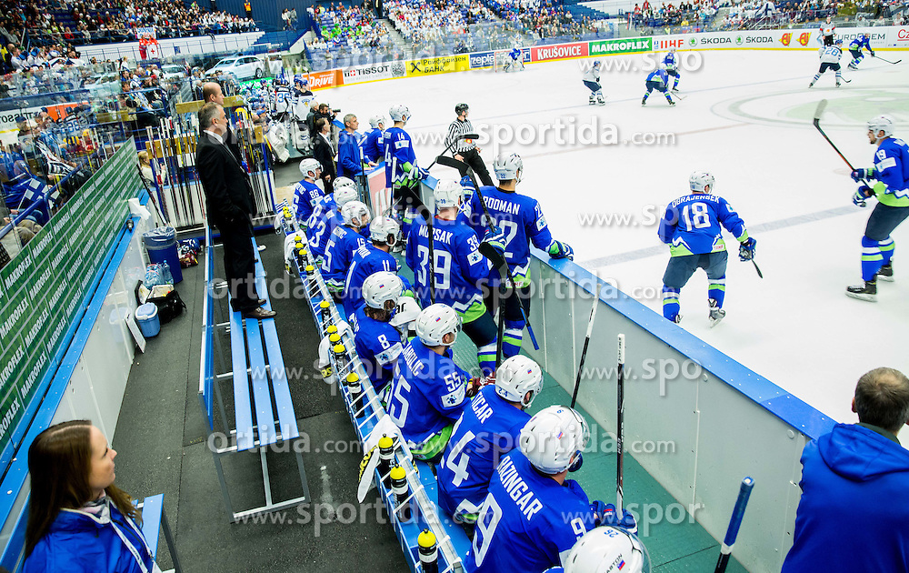 Matjaz Kopitar, head coach Slovenia with team during Ice Hockey match between Finland and Slovenia at Day 7 in Group B of 2015 IIHF World Championship, on May 7, 2015 in CEZ Arena, Ostrava, Czech Republic. Photo by Vid Ponikvar / Sportida