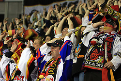 German Fans at ice-hockey match Germany vs Norway (they have old replika jerseys from year 1966) at Preliminary Round (group C) of IIHF WC 2008 in Halifax, on May 07, 2008 in Metro Center, Halifax,Nova Scotia, Canada. (Photo by Vid Ponikvar / Sportal Images)
