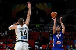 13.09.2014, City Arena, Madrid, ESP, FIBA WM, Frankreich und Litauen, Entscheidungsspiel zwischen Platz 3 und 4, im Bild France´s Lauvergne (R) and Lithuania´s Valanciunas // during FIBA Basketball World Cup Spain 2014 playoff match place 3 and 4 between France and Lithuania at the City Arena in Madrid, Spain on 2014/09/13. EXPA Pictures © 2014, PhotoCredit: EXPA/ Alterphotos/ Victor Blanco<br /> <br /> *****ATTENTION - OUT of ESP, SUI*****