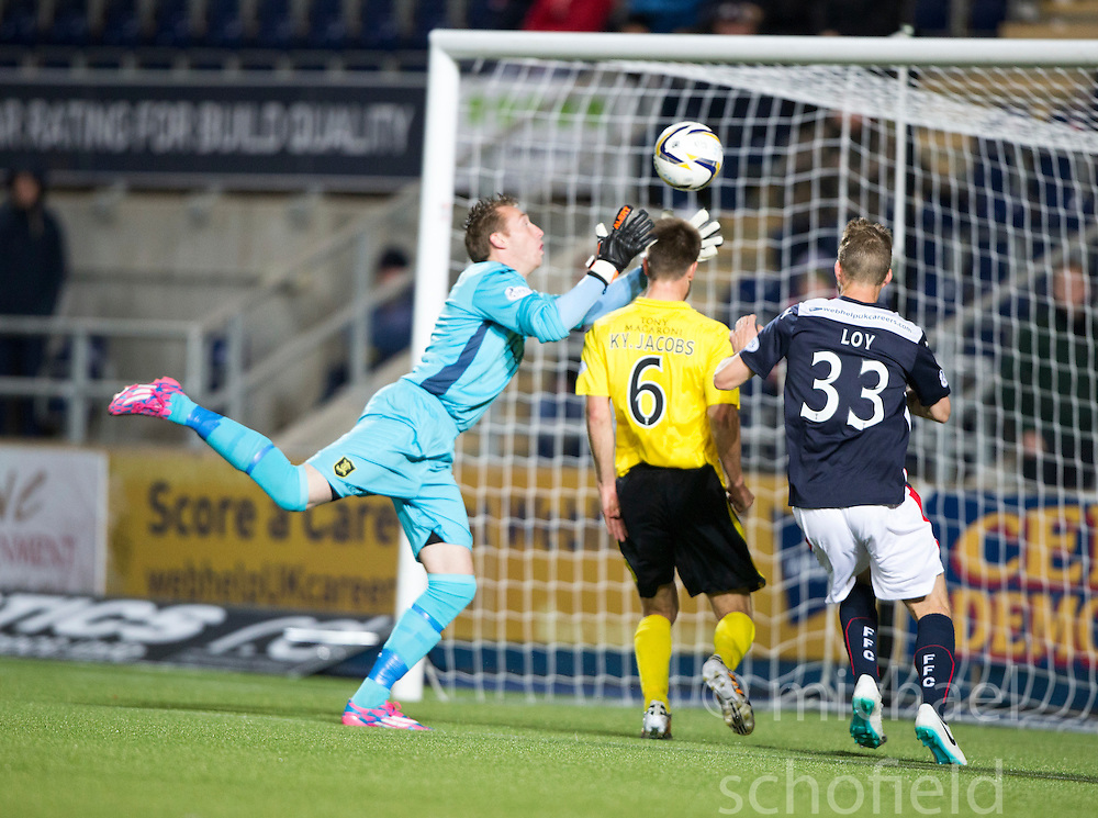 Livingston keeper Darren Jamieson and Falkirk's Rory Loy.<br /> Falkirk 0 v 0  Livingston, Scottish Championship game played 21/10/2014 at The Falkirk Stadium.