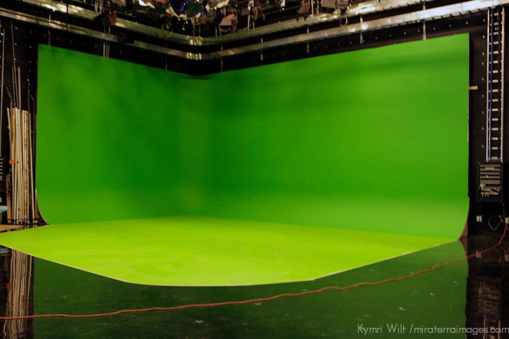 USA, Massachusetts, Boston. The Green screen studio at WGBH.