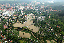 59754224 <br /> Floods in Thuringia the River Saale is above the shore underfoot and has parts of Jenas flooded, Germany, June 3, 2013 .UK ONLY, June 3, 2013 .UK ONLY
