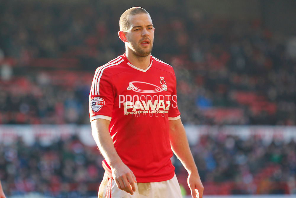 Forest player Matty Fryatt during the Sky Bet Championship match between Nottingham Forest and Birmingham City at the City Ground, Nottingham, England on 28 December 2014. Photo by Jodie Minter.
