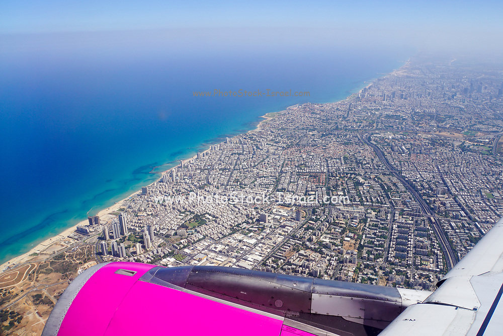 Elevated view of Tel Aviv and Bat Yam as seen from a departing plane window