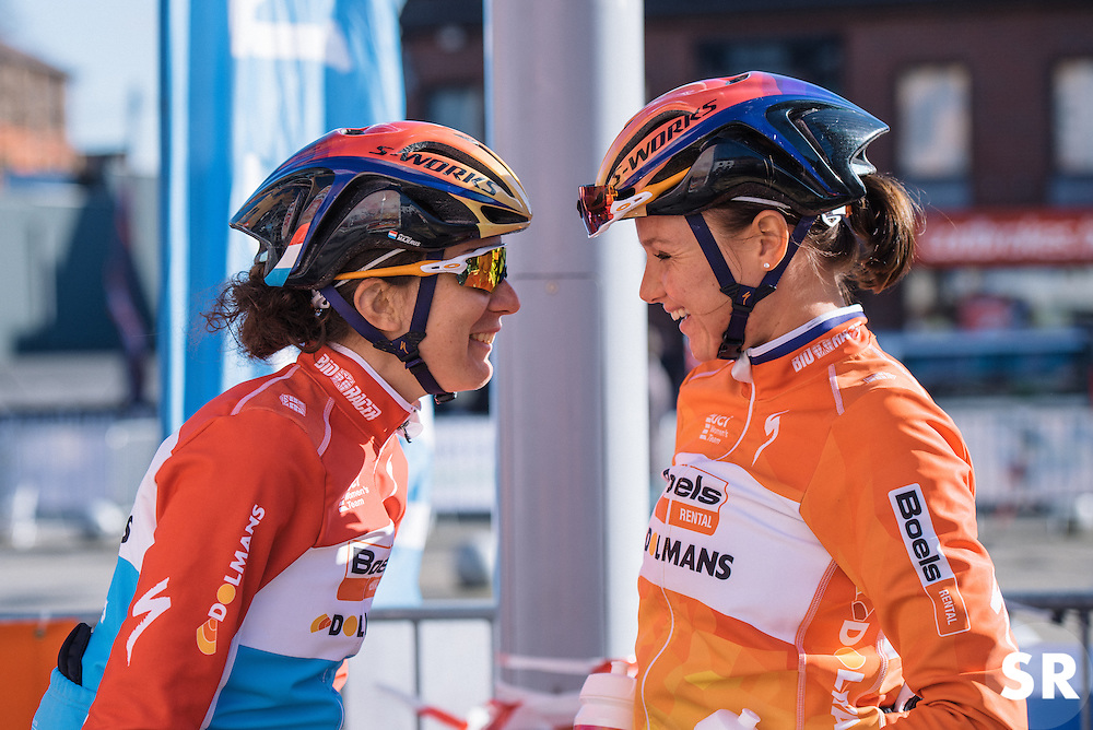 Christine Majerus and Chantal Blaak share a joke at sign in - Le Samyn des Dames 2016, a 113km road race from Quaregnon to Dour, on March 2, 2016 in Hainaut, Belgium.