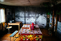 A kitchen table in a small house in northern Mongolia.