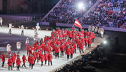 07.02.2014, Olympiastadion Fischt, Adler, RUS, Sochi 2014, Eröffnungsfeier der XXII. Olympischen Winterspiele, im Bild Team Oesterreich mit Fahnentraeger Mario Stecher // Team Austria with flag bearer Mario Stecher during the Opening Ceremony of the Olympic Winter Games Sochi 2014 at the Fisht Olympic Stadium in Adler, Russia on 2014/02/07. EXPA Pictures © 2014, PhotoCredit: EXPA/ Johann Groder
