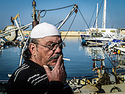 Israel, Jaffa, The ancient port now fishing port A local fisherman