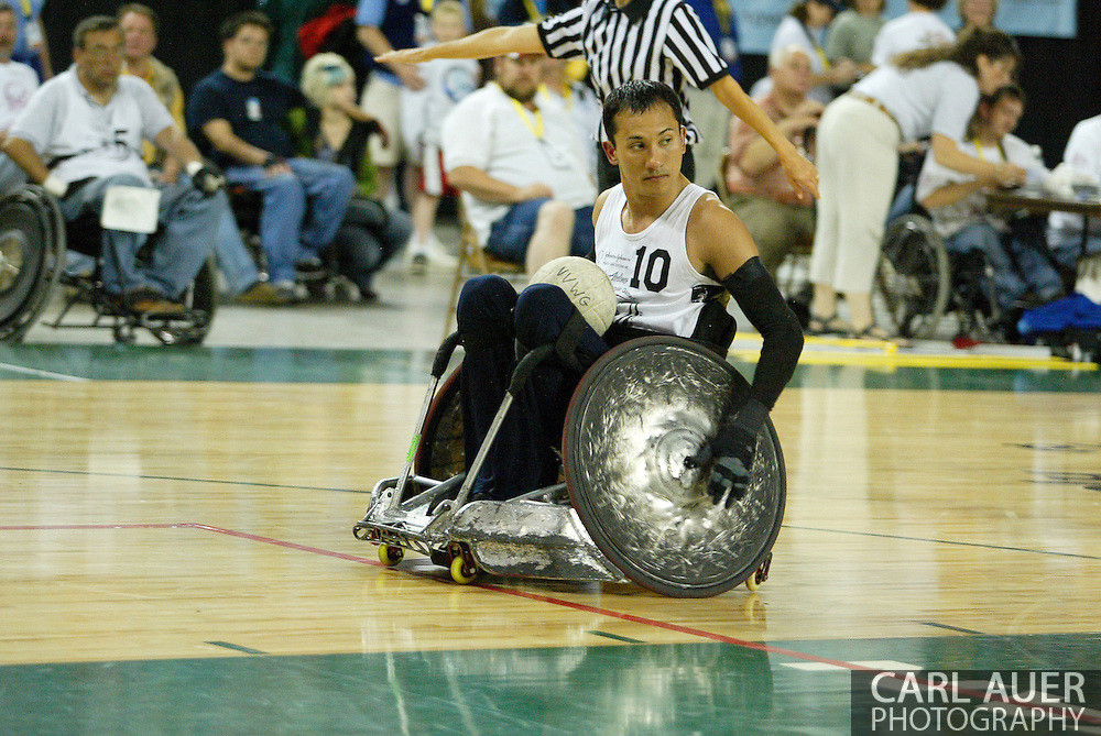 July 7th, 2006: Anchorage, AK - William Groulx rolls in to score again as White defeated Blue in the gold medal game of Quad Rugby at the 26th National Veterans Wheelchair Games.
