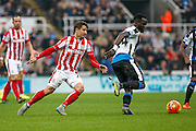 Newcastle United Midfielder Cheick Tiote makes a vital challenge  during the Barclays Premier League match between Newcastle United and Stoke City at St. James's Park, Newcastle, England on 31 October 2015. Photo by Craig McAllister.