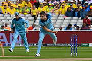 Chris Woakes of England opens the bowling during the ICC Cricket World Cup 2019 semi final match between Australia and England at Edgbaston, Birmingham, United Kingdom on 11 July 2019.