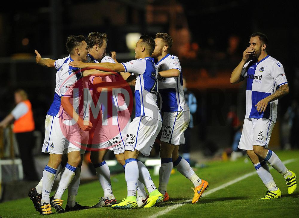 Bristol Rovers celebrate scoring the winner - Mandatory by-line: Neil Brookman/JMP - 11/08/2016 - FOOTBALL - Memorial Stadium - Bristol, England - Bristol Rovers v Cardiff City - EFL League Cup