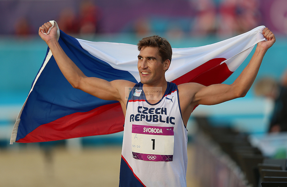 David Svoboda of the Czech Republic celebrates after winning the men's modern pentathlon during day 15 of the London Olympic Games in London, England, United Kingdom on August 11, 2012..(Jed Jacobsohn/for The New York Times)..